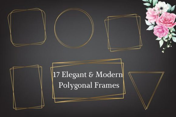 Elegant Modern Gold Polygonal Frame Clip Graphic Illustrations By Aneta Design