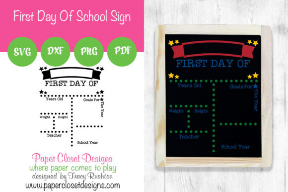Print on Demand: First Day of School Sign - Vertical Graphic Crafts By rushton_tracy