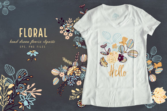 Print on Demand: Floral Cliparts and Seamless Patterns Graphic Illustrations By webvilla