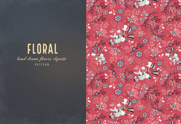 Floral Cliparts and Seamless Patterns Graphic Download