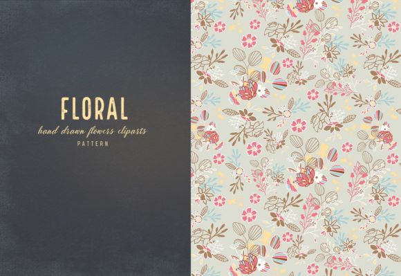 Floral Cliparts and Seamless Patterns Graphic Item