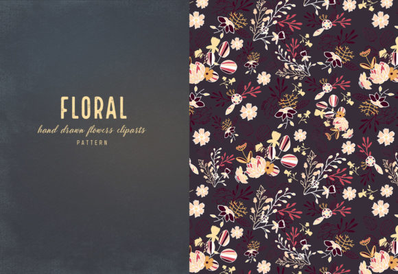 Floral Cliparts and Seamless Patterns Graphic Design