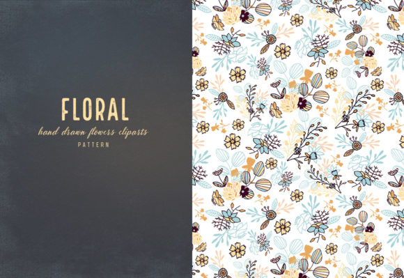 Floral Cliparts and Seamless Patterns Graphic Preview