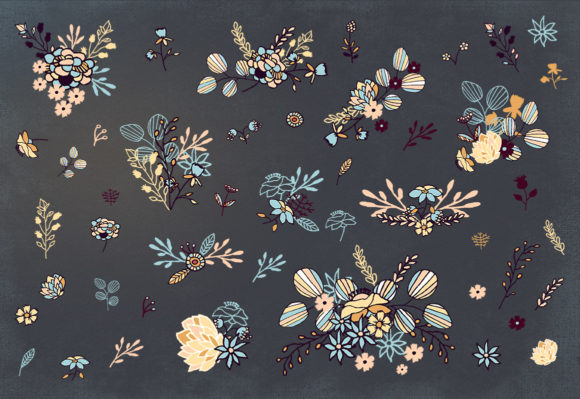 Floral Cliparts and Seamless Patterns Graphic Image