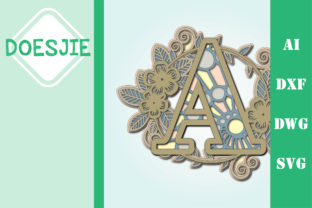 Flower Letter a Multi Layer Mandala Graphic 3D SVG By doesjie