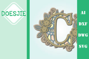 Flower Letter C Multi Layer Mandala Graphic 3D SVG By doesjie