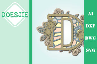 Flower Letter D Multi Layer Mandala Graphic 3D SVG By doesjie