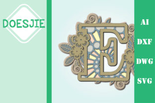 Flower Letter E Multi Layer Mandala Graphic 3D SVG By doesjie