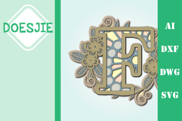 Flower Letter F Multi Layer Mandala Graphic 3D SVG By doesjie