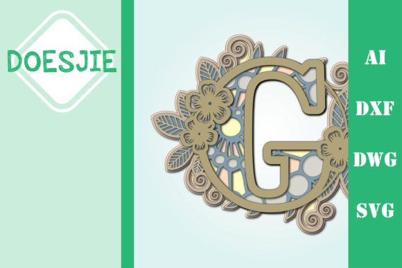 Flower Letter G Multi Layer Mandala Graphic 3D SVG By doesjie