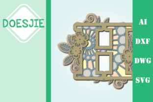 Flower Letter H Multi Layer Mandala Graphic 3D SVG By doesjie