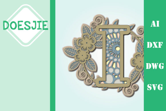 Flower Letter I Multi Layer Mandala Graphic 3D SVG By doesjie