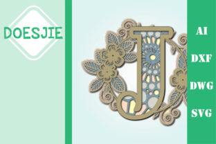 Flower Letter J Multi Layer Mandala Graphic 3D SVG By doesjie