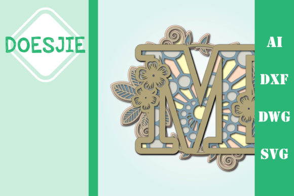 Flower Letter M Multi Layer Mandala Graphic 3D SVG By doesjie