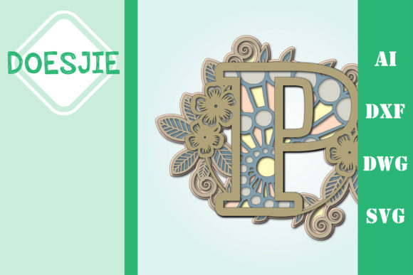 Flower Letter P Multi Layer Mandala Graphic 3D SVG By doesjie