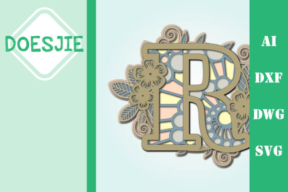 Flower Letter R Multi Layer Mandala Graphic 3D SVG By doesjie