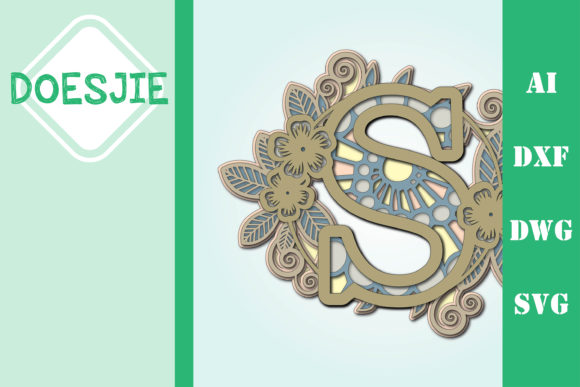 Flower Letter S Multi Layer Mandala Graphic 3D SVG By doesjie