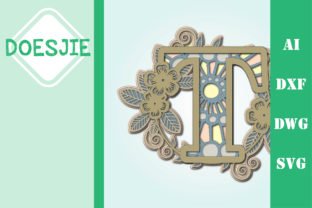 Flower Letter T Multi Layer Mandala Graphic 3D SVG By doesjie