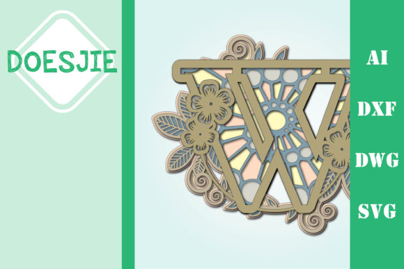 Flower Letter W Multi Layer Mandala Graphic 3D SVG By doesjie