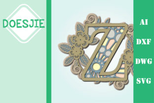 Flower Letter Z Multi Layer Mandala Graphic 3D SVG By doesjie