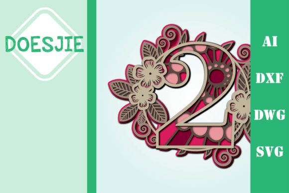 Flower Number 2 Multi Layer Mandala Graphic 3D SVG By doesjie