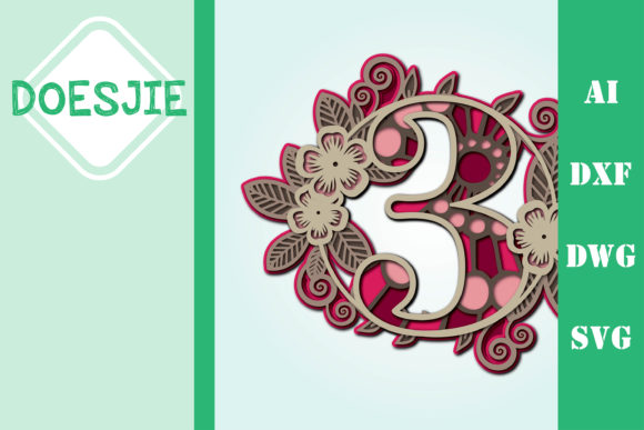 Flower Number 3 Multi Layer Mandala Graphic 3D SVG By doesjie