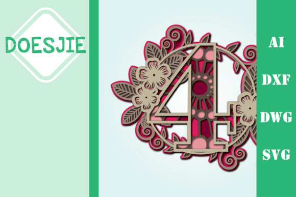 Flower Number 4 Multi Layer Mandala Graphic 3D SVG By doesjie