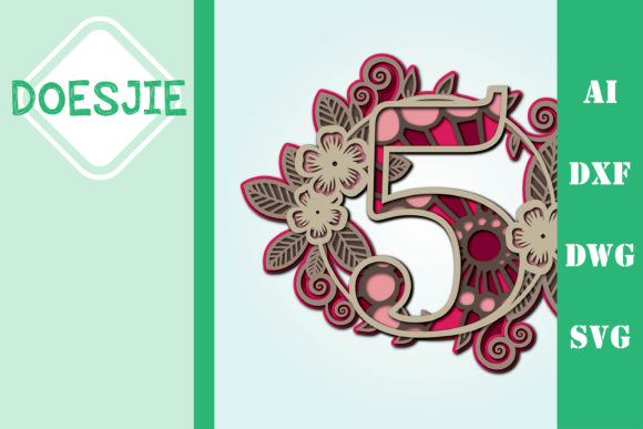 Flower Number 5 Multi Layer Mandala Graphic 3D SVG By doesjie