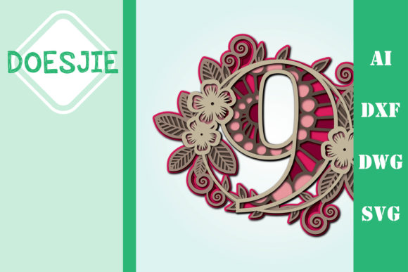Flower Number 9 Multi Layer Mandala Graphic 3D SVG By doesjie