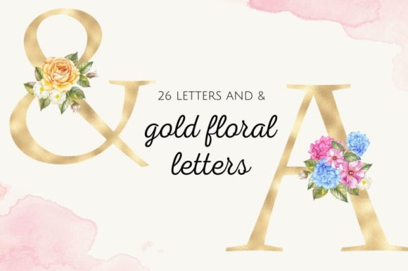 Gold Foil Alphabet with Hydrangea Flower Graphic Illustrations By Aneta Design