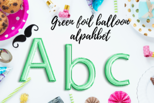 Green Foil Balloon Alphabet Typography Grafik Illustrationen von Aneta Design
