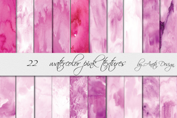 Hand Painted Watercolor Pink Textures Graphic Textures By Aneta Design