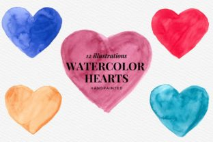 Hand Panted Watercolor Hearts, Cute Icon Graphic Illustrations By Aneta Design