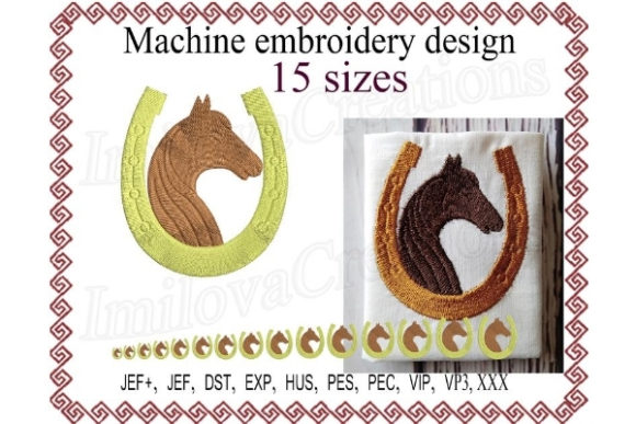 Horse with a Horseshoe  Silhouette Horses Embroidery Design By ImilovaCreations