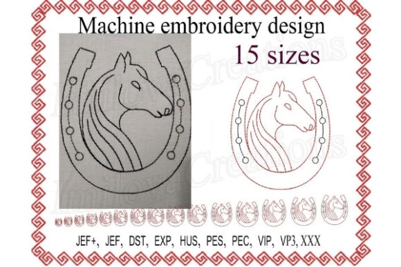 Horse with a Horseshoe Horses Embroidery Design By ImilovaCreations