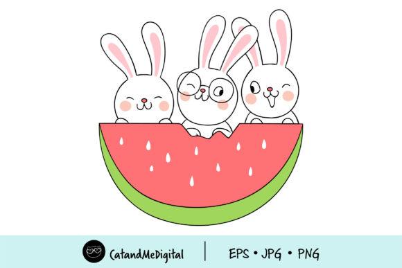 Kawaii Rabbit with Watermelon Graphic Illustrations By CatAndMe
