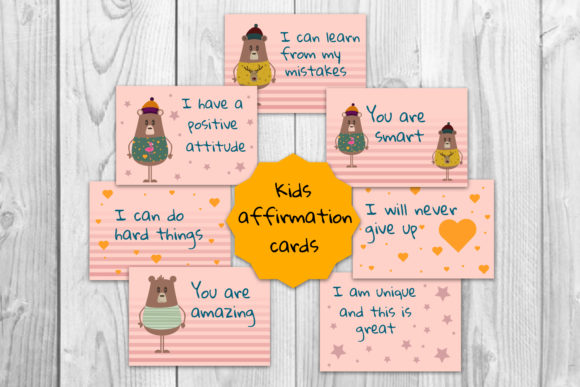 Kids Affirmation, Motivational Cards Graphic Teaching Materials By Igraphic Studio