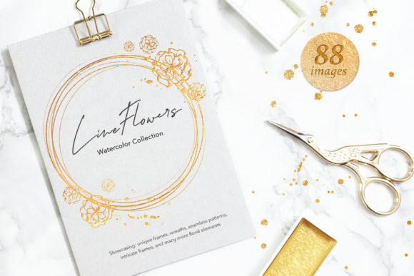 Little Line Flowers  Shimmer Graphic Illustrations By WatercolorEps