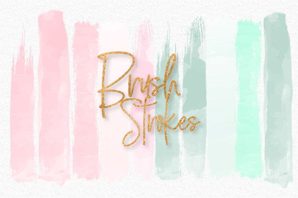 Print on Demand: Mint and Pink Brush Strokes Graphic Illustrations By loyaarts
