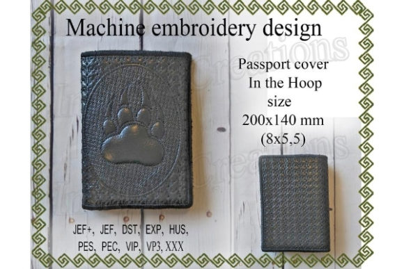 Passport Cover in the Hoop Paw with Claws Sewing & Crafts Embroidery Design By ImilovaCreations