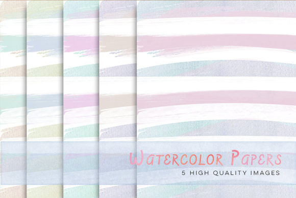 Print on Demand: Pastel Watercolour Stripes Clip Art Graphic Illustrations By SunflowerLove
