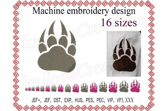 Paw with Claws Wild Animals Embroidery Design By ImilovaCreations