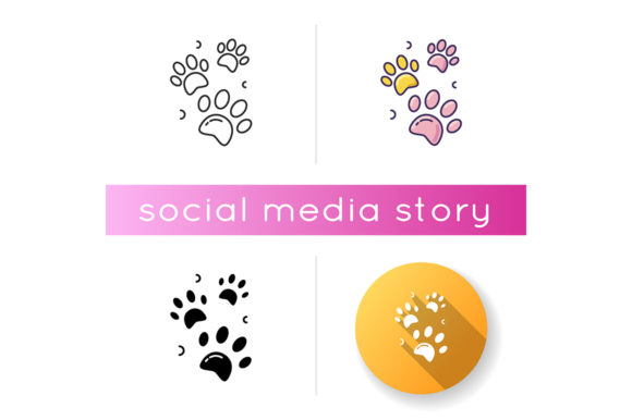 Print on Demand: Pet Paw Prints Icon Graphic Icons By bsd studio