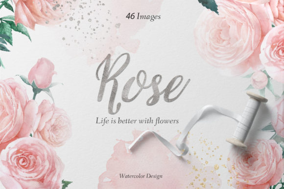 Pink & Blue Rose Watercolor Set Graphic Illustrations By WatercolorEps