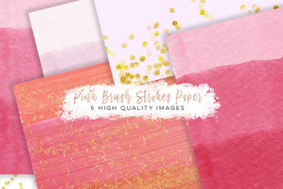 Print on Demand: Pink Gold Paper, Romantic Clip Art Graphic Illustrations By SunflowerLove