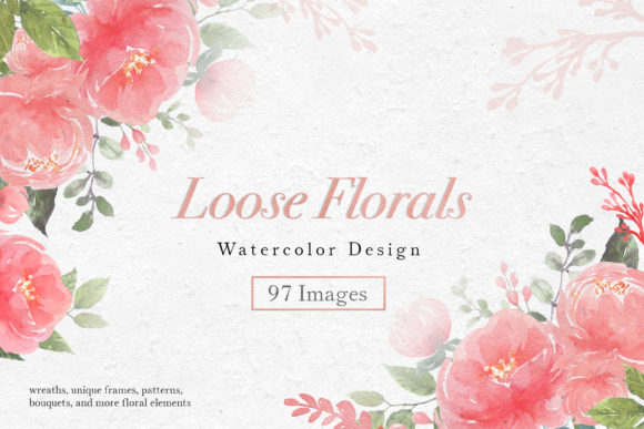 Pink Loose Florals Watercolor Graphic Illustrations By WatercolorEps