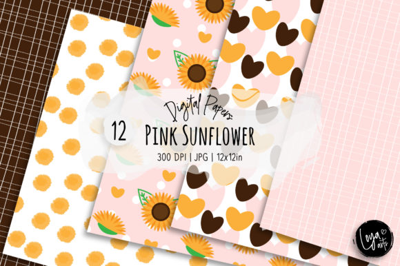 Print on Demand: Pink Sunflower Digital Paper Set Graphic Backgrounds By loyaarts