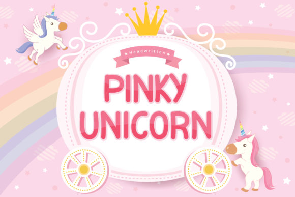 Print on Demand: Pinky Unicorn Script & Handwritten Font By Graphicxell