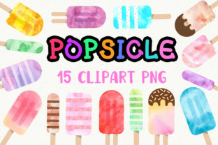 Print on Demand: Popsicle Watercolor Clip Art Graphic Illustrations By PinkPearly
