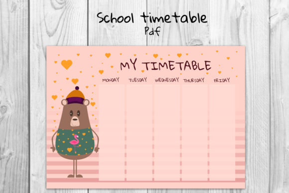 School Timetable, Bear Timetable Graphic Teaching Materials By Igraphic Studio